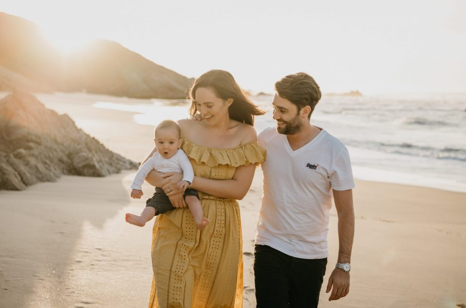 Codey, Dani and Jett beautiful sunrise family shoot in Keurboomstrand in Plettenberg Bay.